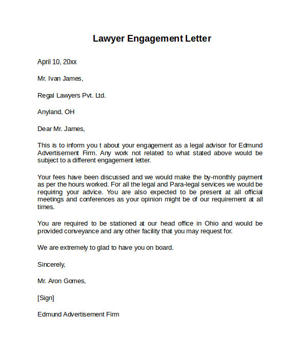 Legal Engagement Letter Template 9 Sample Engagement Letters to Download Sample Templates