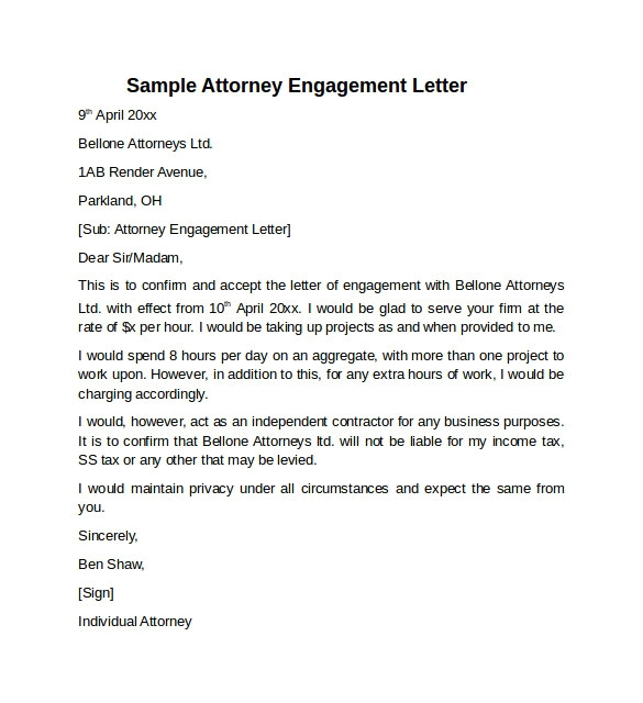 lawyer engagement letter