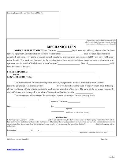 Lein Template Download Blank Mechanics Lien Template Pdf Rtf Word