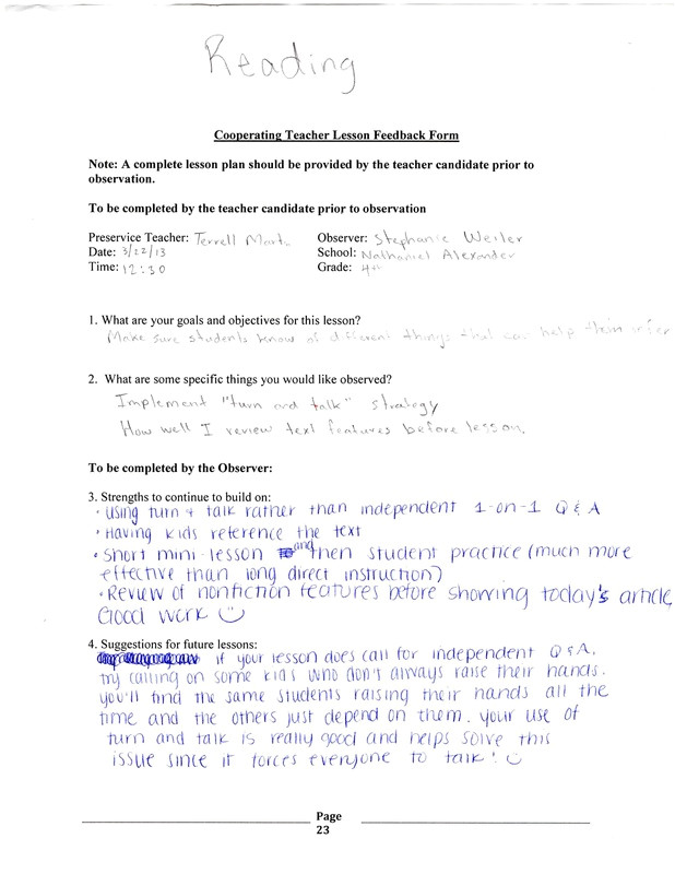 lesson plan feedback form