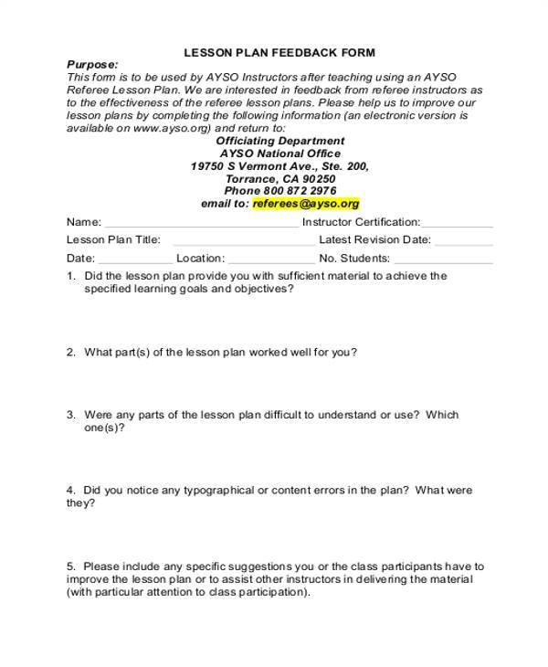 lesson feedback form