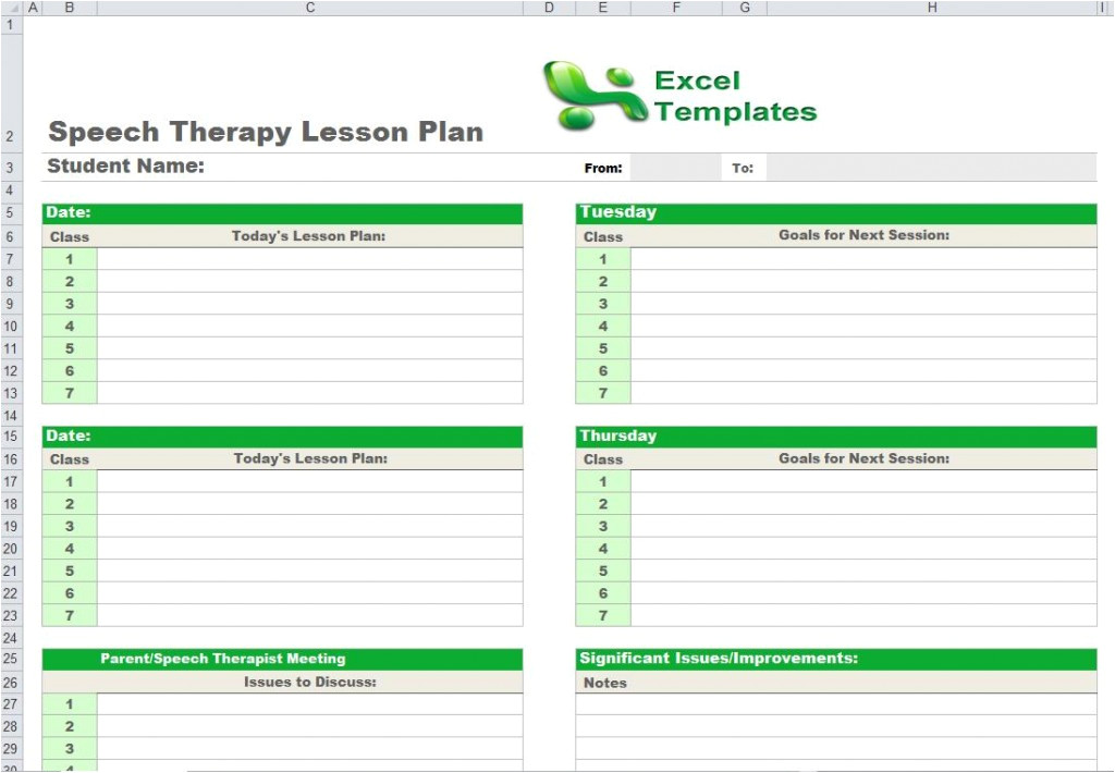 speech therapy lesson plan template
