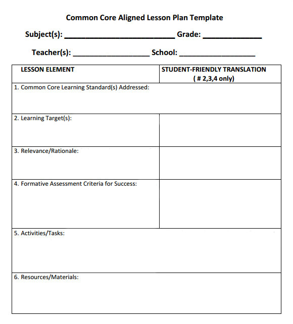 Lesson Plan Template Using Common Core Standards 7 Sample Common Core Lesson Plan Templates to Download