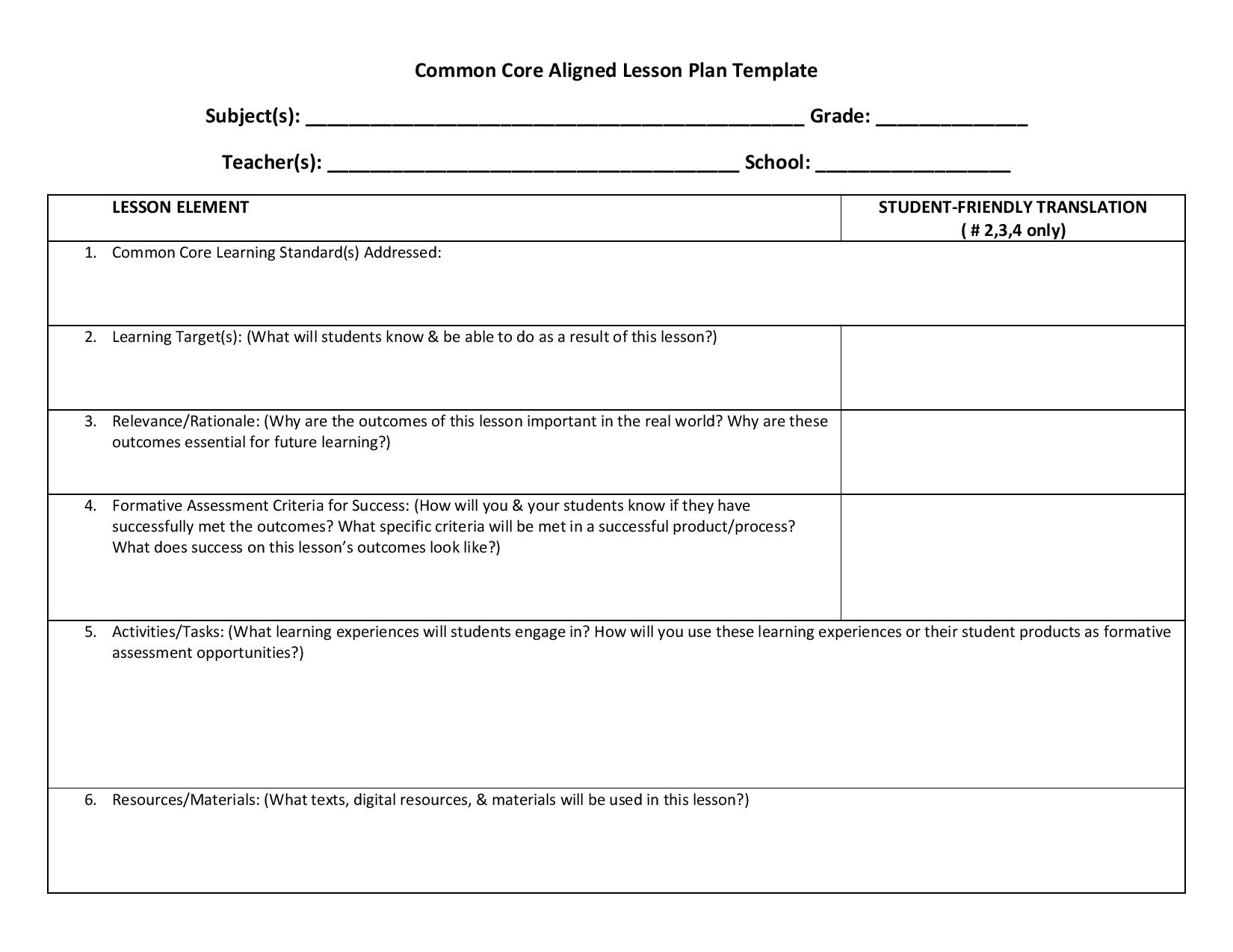 lesson planning templates ccss