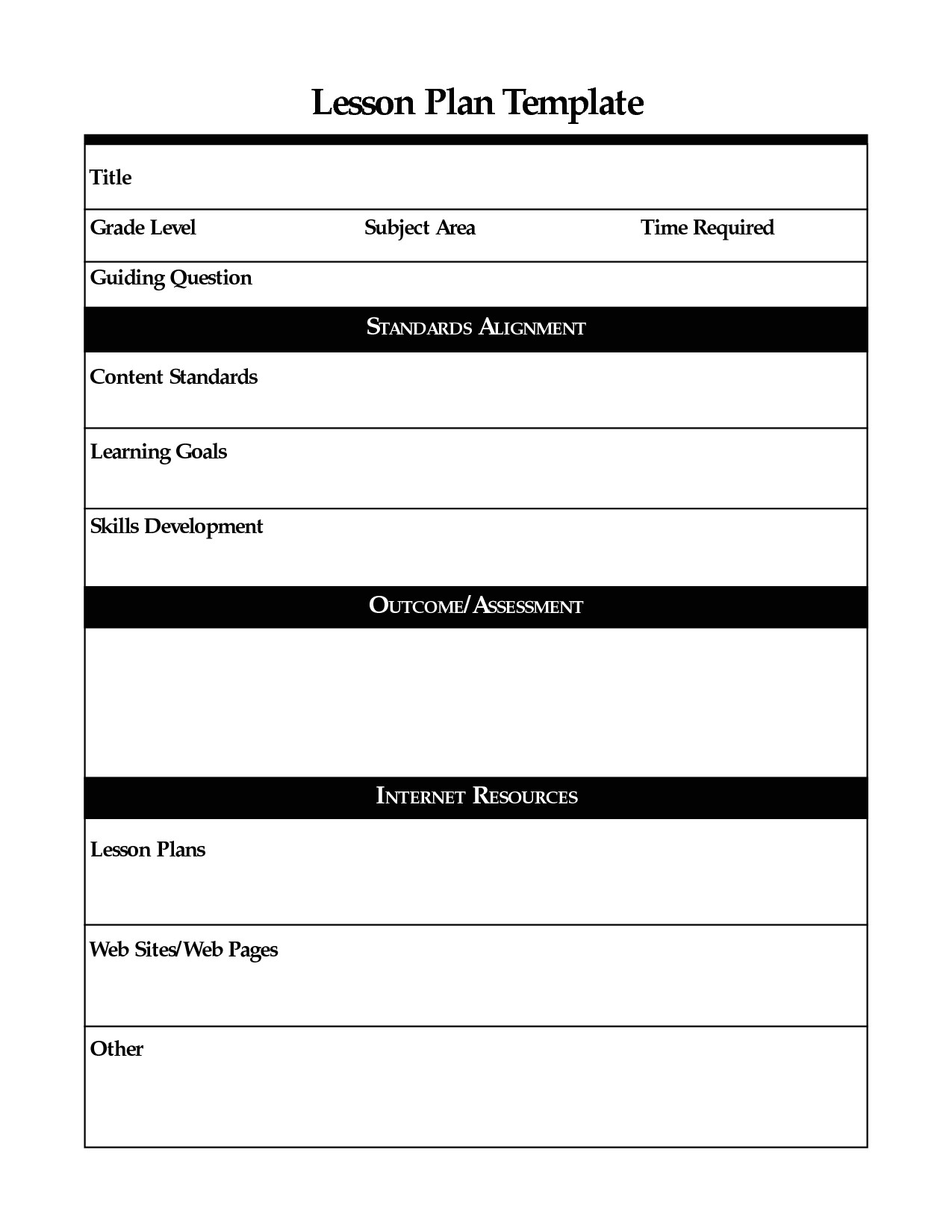 Lessonplan Template Printable Lesson Plan Template Free to Download