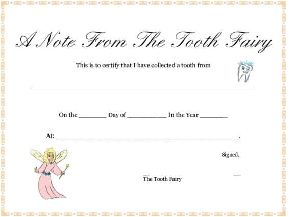 Letter From the tooth Fairy Template 37 tooth Fairy Certificates Letter Templates Printable