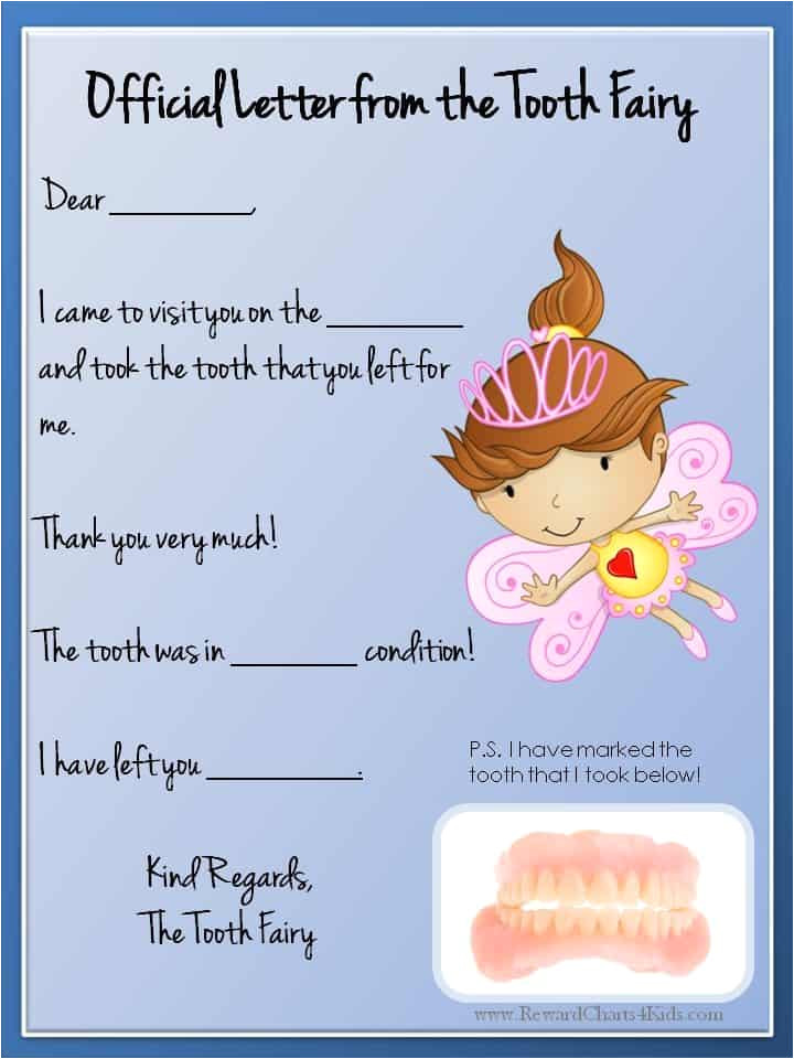 Letter From the tooth Fairy Template tooth Fairy Letter Free Printable