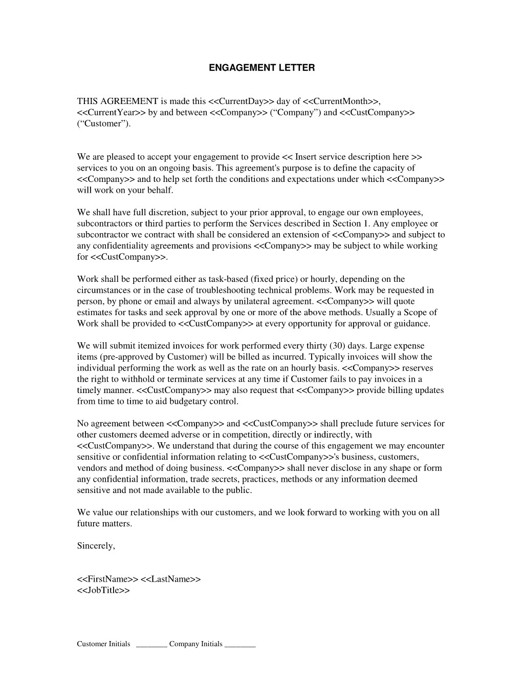 consulting engagement letter