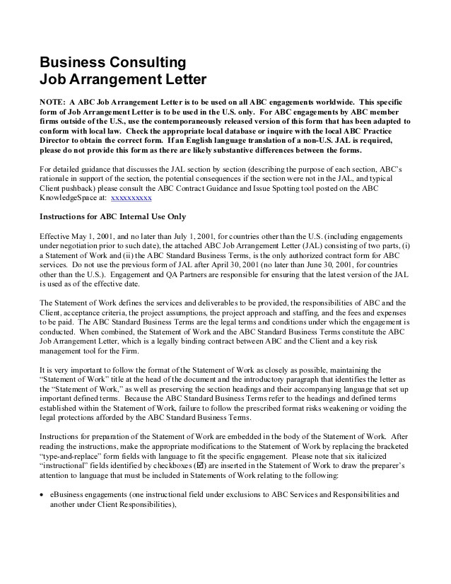 Letter Of Engagement Consulting Template Sample Consulting Engagement Letter