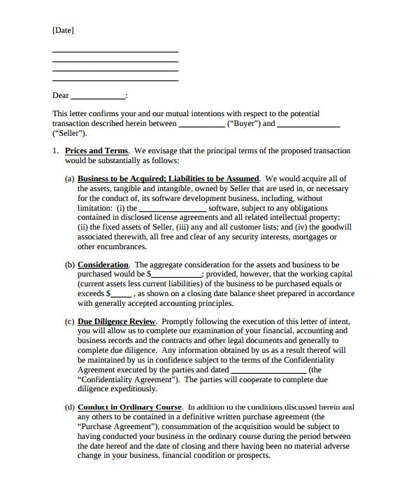 purchase letter of intent