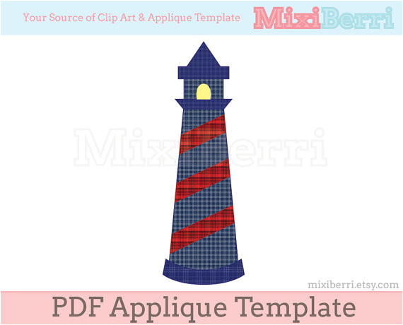 Lighthouse Template Craft Applique Pattern Lighthouse Pdf Applique Template Instant
