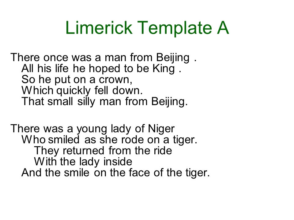 Limerick Writing Template Creative Writing Poetry Ppt Video Online Download