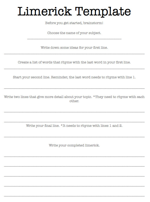 Limerick Writing Template Limerick Writing Appreciating Literature Scholastic Com