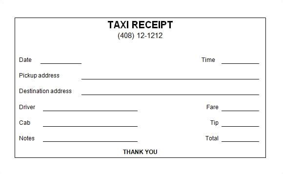 taxi receipt templates