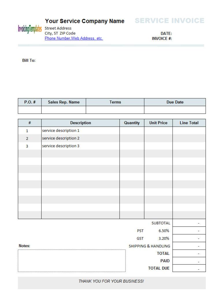limousine service receipt template