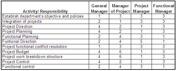 matrix responsibility chart