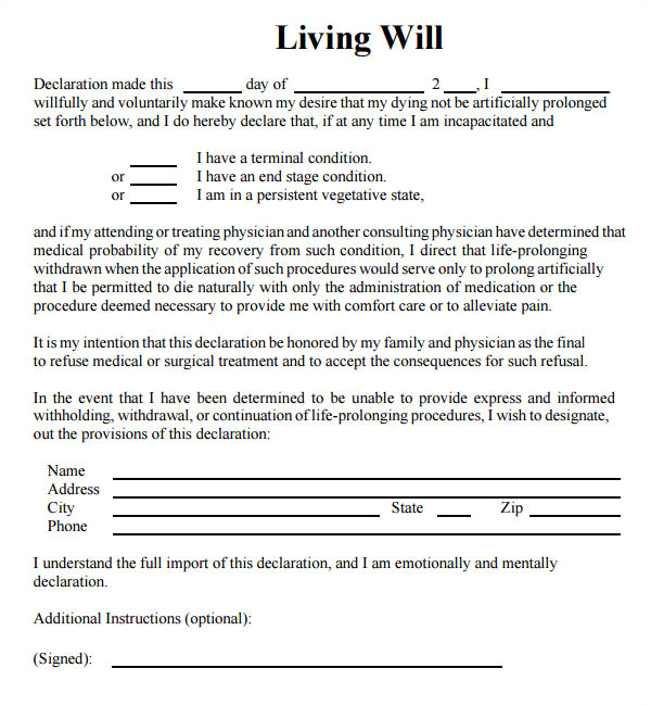 Living Will Samples Templates 9 Sample Living Wills Pdf Sample Templates