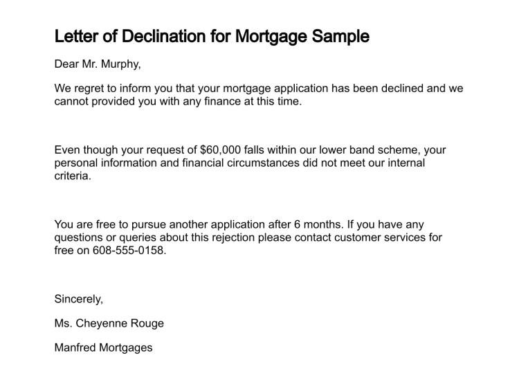 loan application denial letter sample