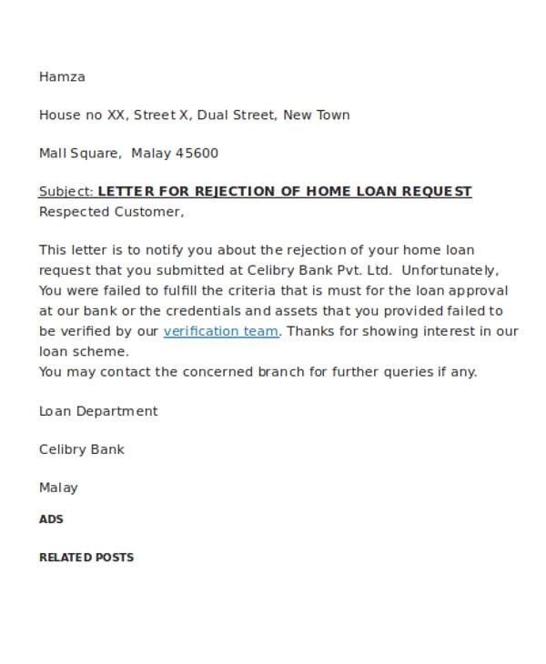 loan rejection letter