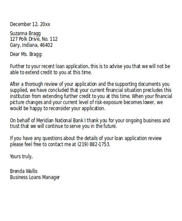 Loan Denial Letter Template Loan Rejection Letter Templates 7 Free Word Pdf format