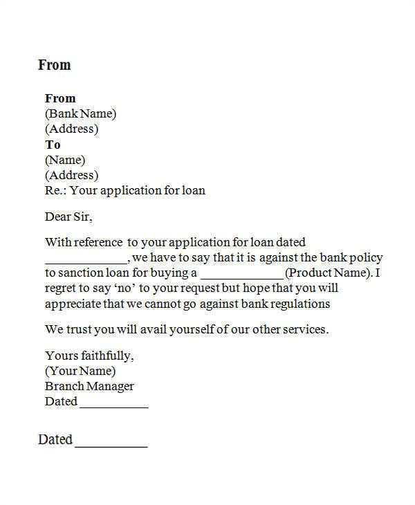 Loan Denial Letter Template Loan Rejection Letters 10 Free Sample Example format