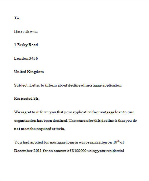 loan rejection letters