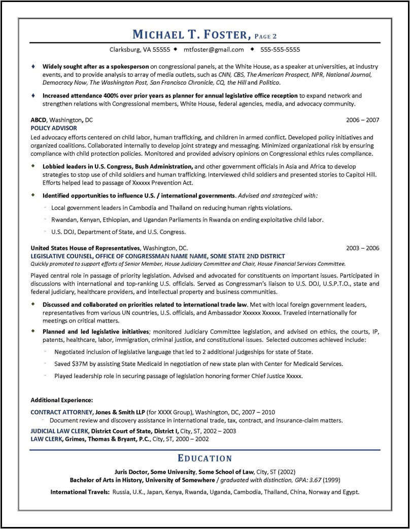 Lobbyist Resume Sample Lawyer Resume Sample Written by Distinctive Documents