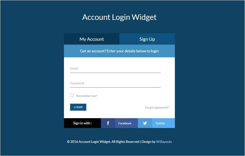 Login Page Templates Free Download In asp Net Account Login Widget Flat Responsive Widget Template