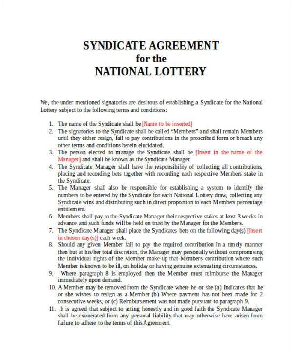 lottery syndicate agreement template word
