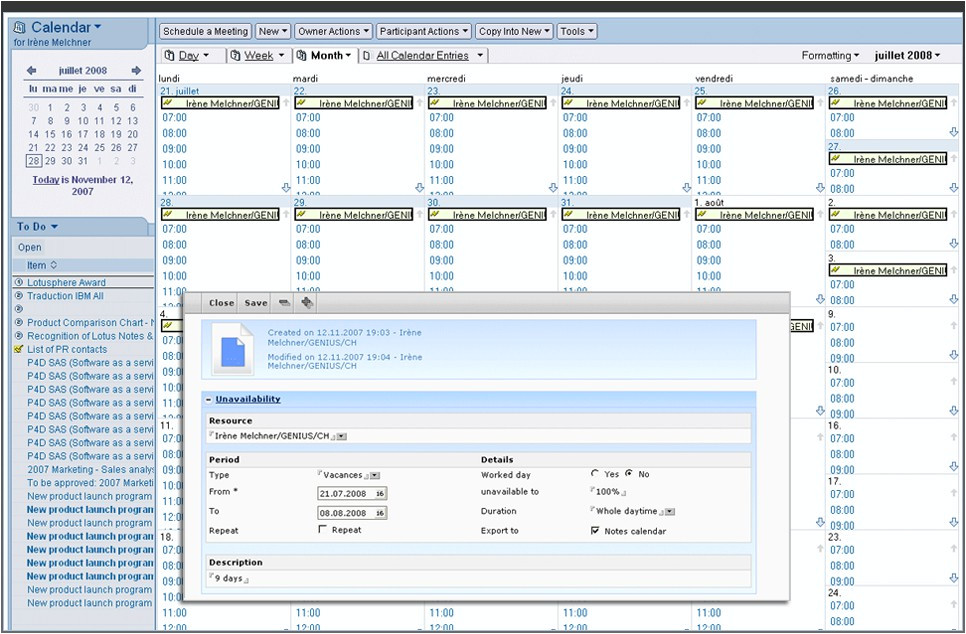 Lotus Notes Calendar Template Benefits for Lotus Notes Users Project Management software