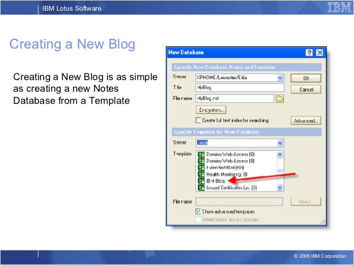 Lotus Notes Database Templates Lotus Notes Blog Template