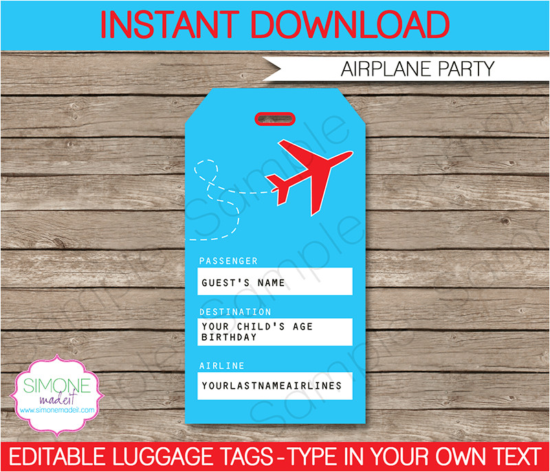 airplane party luggage tags template