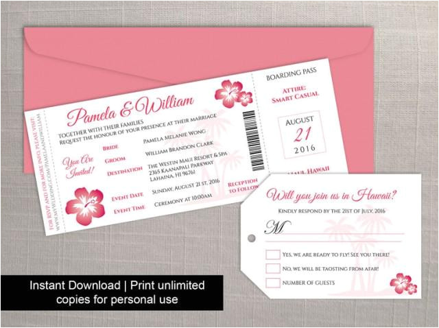 diy printable wedding boarding pass luggage tag template invitation editble ms word file instant download hawaii dark coral pink