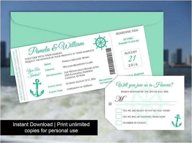 diy printable wedding boarding pass luggage tag template invitation editble ms word file instant download cruise ship emerald green