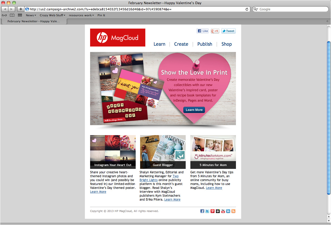 hp magcloud holiday template design valentines day