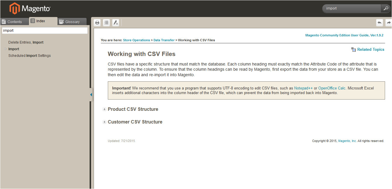 anyone who has a magento 1 9 website import product csv template file