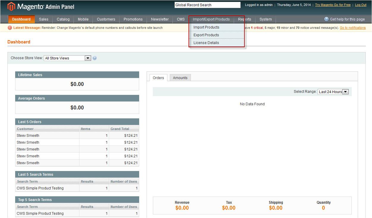magento import export products extension