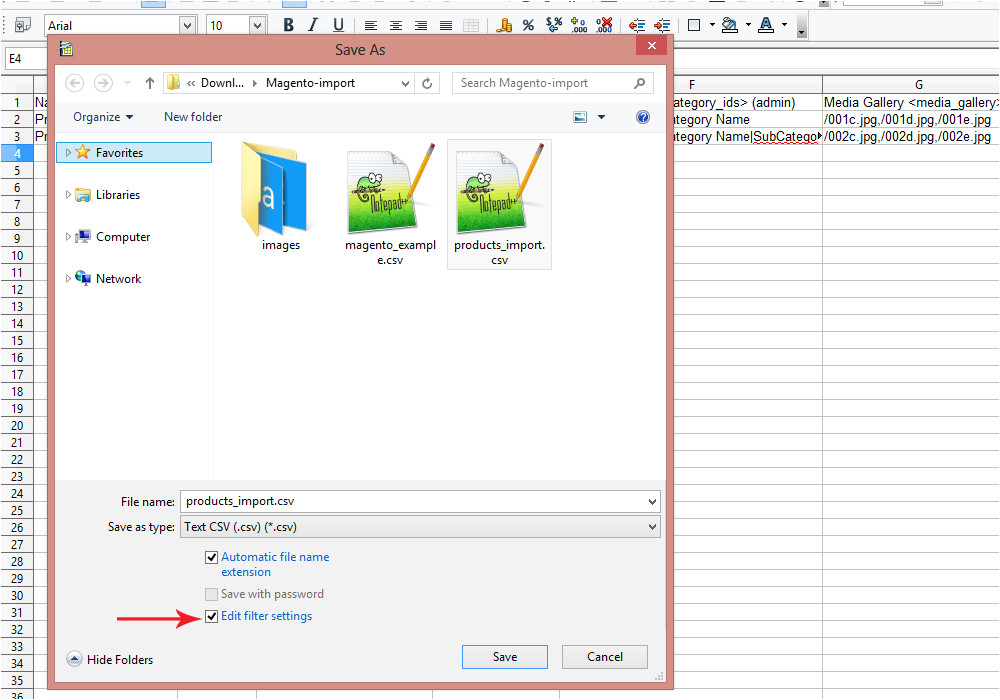 magento how to create csv file for products import