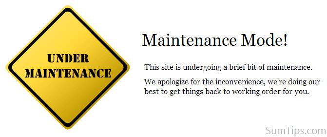 Maintenance Mode HTML Template Custom Maintenance Page Template for WordPress Sumtips