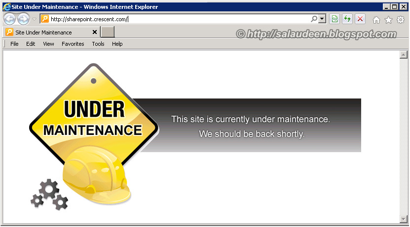 maintenance page for sharepoint 2010
