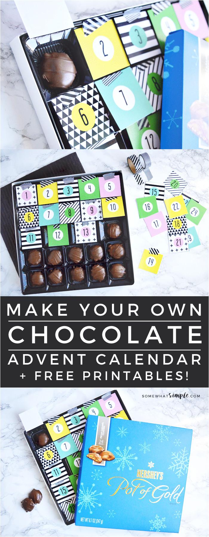 Make Your Own Advent Calendar Template Diy Chocolate Christmas Advent Calendar Free Printables