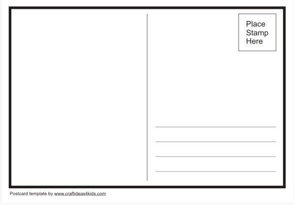 Make Your Own Postcard Template Template You Can Use to Make Your Own Postcards Craft
