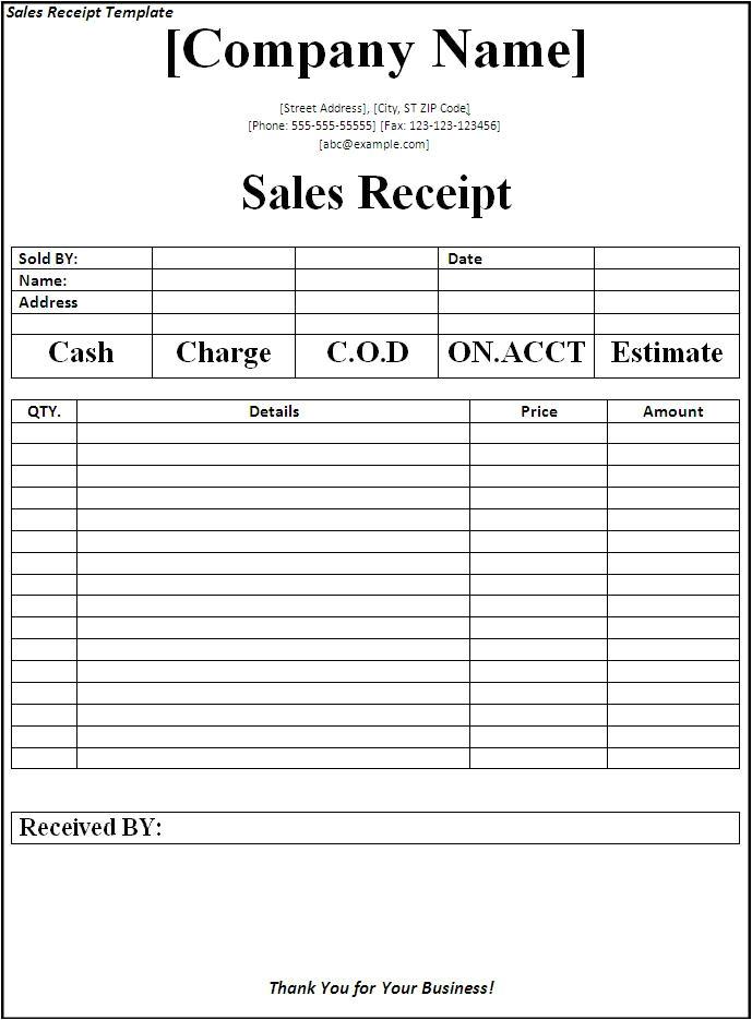 sales receipt template