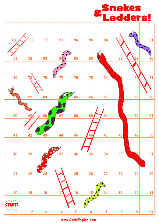 Make Your Own Snakes and Ladders Template First Lessons Genki English