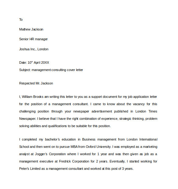 Management Consultancy Cover Letter 10 Consulting Cover Letter Templates to Download Sample