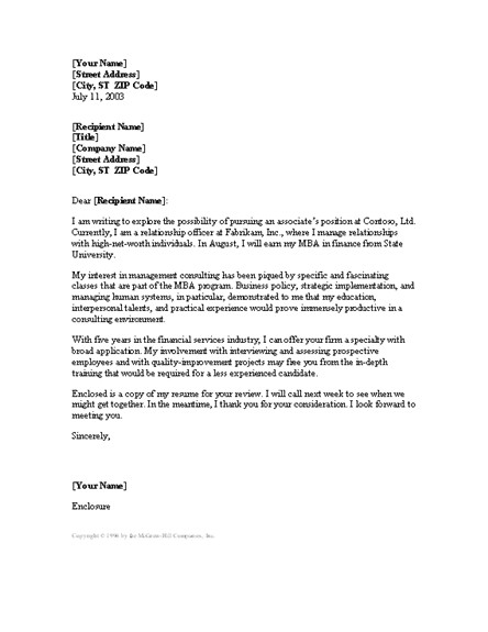 cover letter template consultant