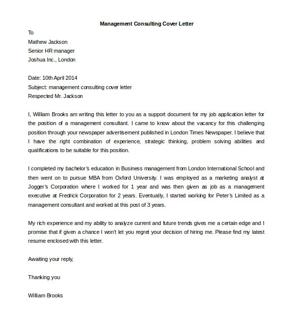 Management Consulted Cover Letter 54 Free Cover Letter Templates Pdf Doc Free
