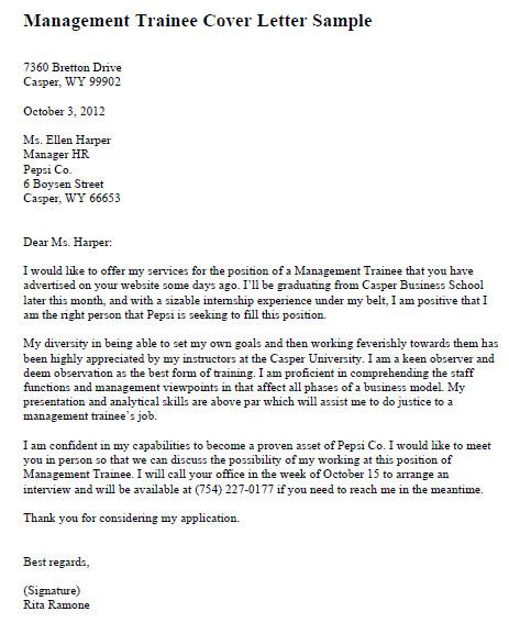 Management Trainee Cover Letter Samples Cv Sample for Management Trainee Position Printable Job