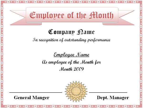 employee of the month certificate template