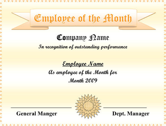 printable employee of the month certificates